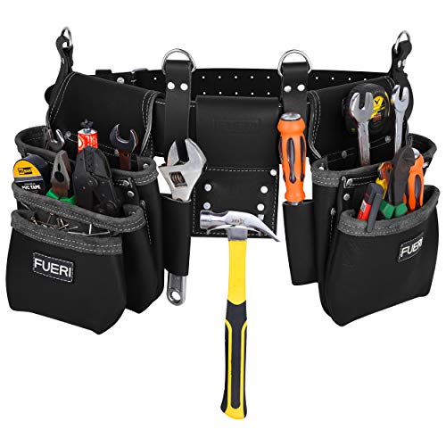 tool bag with belts Black Professional Belt Framer's Combo Tool Pouch Carpenter 17 Pocket Tool Bag Tool Kit High-Grade Leather | Organizer Tool Holder | Heavy Duty Tool Organizer | Tool Pouch (Tools not include)