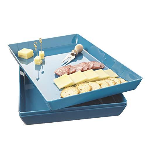Avant 15 x 10 Plastic Serving Tray  Set of 3 Ocean Blue