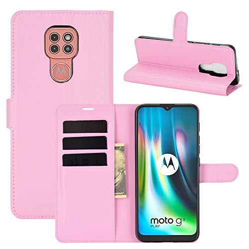 SHUFEIVICC For Motorola Moto G9 / G9 Juego Litchi Textura Horizontal Flip Funda Protectora con el sostenedor y Ranuras for Tarjetas y Monedero (Color : Pink)