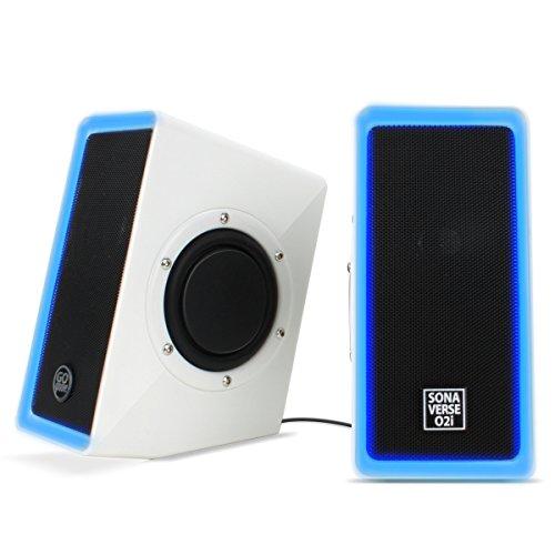 GOgroove SonaVERSE O2i PC-Computer USB-Powered Lautsprecher mit 3,5-mm-AUX-Eingang - 2,0-Kanal-Dual-Passiv-Bass-Tieftöner, Integrierter Lautstärkeregler, LED-Akzentleuchten Ideal für Spiele - Weiß