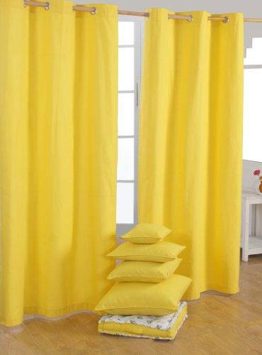 Homescapes – Paire de rideaux à œillets Prêt-à-poser – Uni Jaune – 100% Coton – 137 x 228 cm