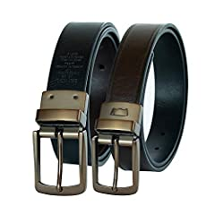 Black-to-brown reversible belt in burnished finish with stamped stripe trims Brushed gunmetal buckle and single keeper with logo For a proper fit, order belt one full size larger than your normal waist size Width: 35mm