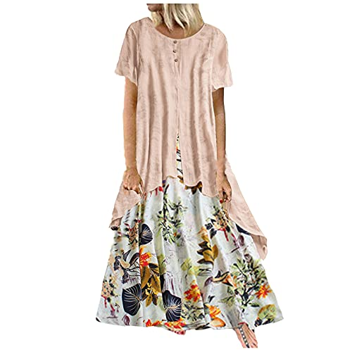 Women's Two-Piece Print Dress with Cardigan Plus Size Vintage Floral Fake-Two-Piece Casual Loose Cotton Linen Maxi Dress