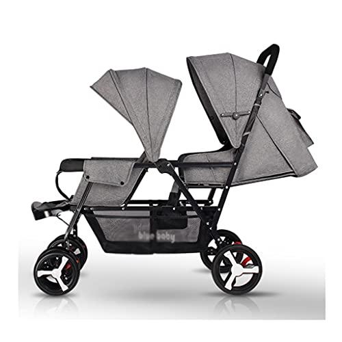 jiji sillas de Paseo Cochecito de bebé Gemelo, una retracción Clave, Puede Sentarse y Plegar los Segundos cochecitos de bebé de Alto y bajo diseño de diseño de bebé Cochecito de bebé