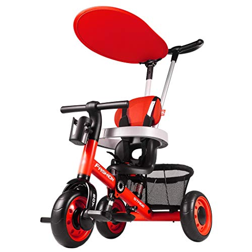 Trikes kinderdriewieler met duwstang multifunctionele kinderwagen fiets voor kinderen 1-3 jaar oud 4 in 1