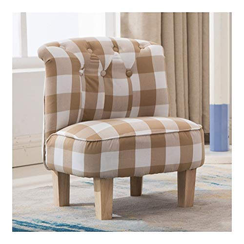 Children's Fabric Sofa British Style Single Boy Girl Bedroom Kindergarten Reading Area Lattice Backrest Sofa Chair Perfect For Childs Bedroom Playroom 13.8x12.2x21.7inch (Color : F)