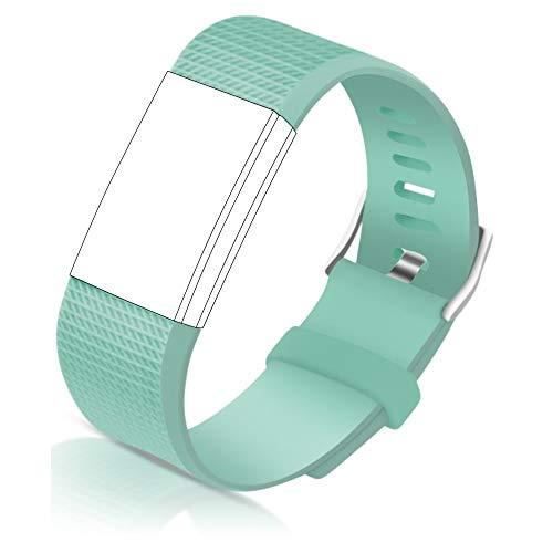STAY Active Correas de Recambio para Fitbit Charge 2, Reloj Inteligente y Deportivo para Mujer y Hombre | Marca del Reino Unido - Diamante de Silicona (Verde Azulado – Pequeña)