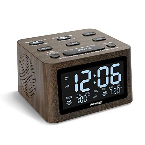 REACHER Holz Dual Wecker mit weißes Rauschen Maschine, 6 Wecktöne, 12 beruhigende Sound für den Schlaf, einstellbare Lautstärke, USB-Ladegerät, Batterie-Backup, 0-100% Dimmer für das Schlafzimmer
