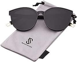 SOJOS Fashion Round Sunglasses for Women Men Oversized Vintage Shades SJ2057 with Black Frame/Grey Lens