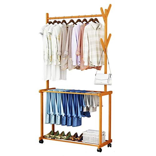 Zcyg Soporte de ropa de bambú con 4 ganchos laterales para zapatos para almacenamiento adicional con marco en A, soporte para ropa, bambú natural (tamaño: 80 cm)