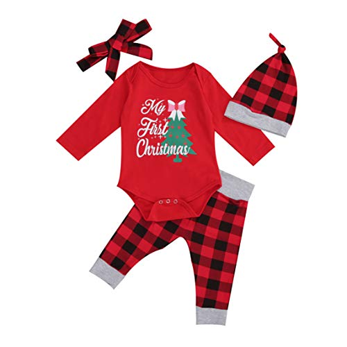 hailouhai My First Christmas Newborn Baby Cute Boy Girl Long Sleeve Outfits Santa Claus Romper+ Pants + Bow Headband + Hat 4 Pcs Clothes Sets (Christmas Tree, 18-24 Months)