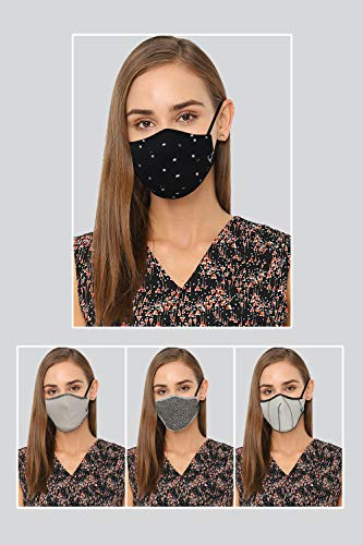 Allen Solly Women's Viroblock Cotton Cloth Face Mask (Pack of 4) (AHMSCRGPK21814_Multi_Free...