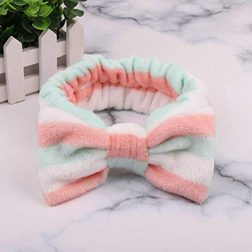 NoraHarry Nouvelle Lettre Molleton Face Wash Bow Serre-têtes for Les Femmes Filles Bandeaux Couvre-Chef Bandeaux Turban Accessoires Cheveux (Color : Stripe 1)