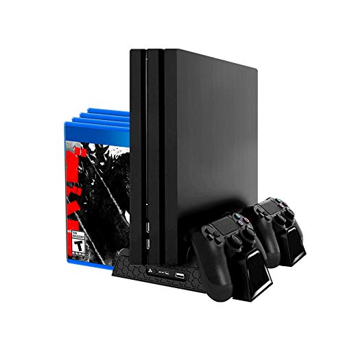 Redlemon Base Vertical y Ventilador para PlayStation 4 (Compatible con Regular, Pro y Slim), con Estación de Carga Dual para 2 Controles. Soporte Vertical tipo Stand con Espacio para 12 Juegos [video game]