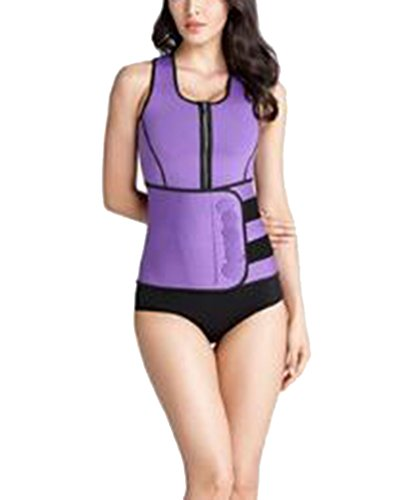GODGETS Mujer Chaleco Neopreno de Sudoración Camiseta Deportival con Faja Reductora para Adelgazamente Barriga Púrpura 2XL