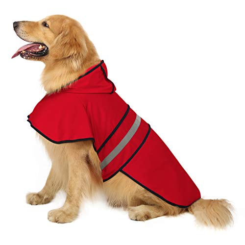 HDE Dog Raincoat Hooded Slicker Poncho for Small to X-Large Dogs and Puppies (Red, X-Large)