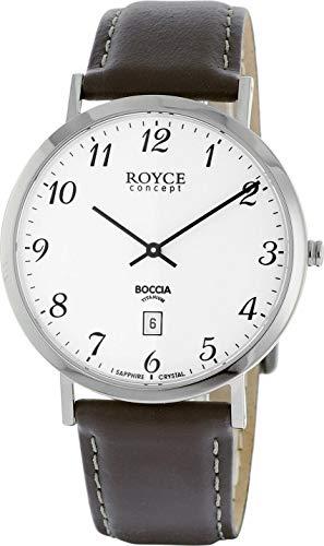 Boccia Herren Analog Quarz Uhr mit Leder Armband 3634-01