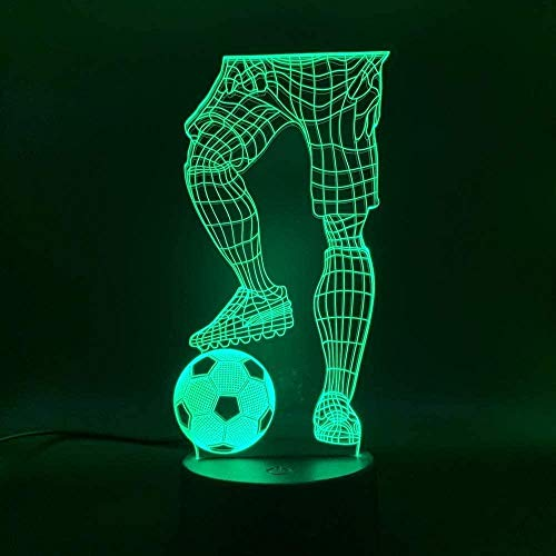 OUUED 3D LED Night Light para niños 7 colores cambiantesLed Night Light 3D Illusion Sports Soccer Player Hold Soccer Touch Sensor Switch Color cambiante Bebé durmiendo todas las noches
