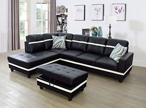 Ainehome Furniture Sectional Sofa Set, Living Room Sofa Set, Leather Sectional Sofa, Black & White Sofa Set (Left Hand Facing,#1)