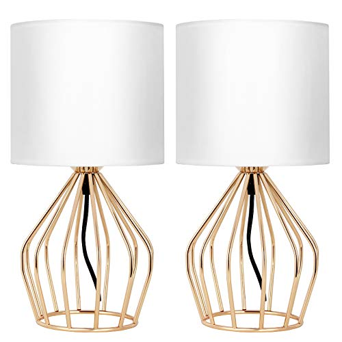Gold Table Lamps, Modern Table Lamps for Living Room, Bedroom Set of 2, Bedside Lamps Pair, Metal Cage Table Lamp, Gold Wire Hollowed Out Base with White Lampshade for Bedroom, Living Room, Lounge
