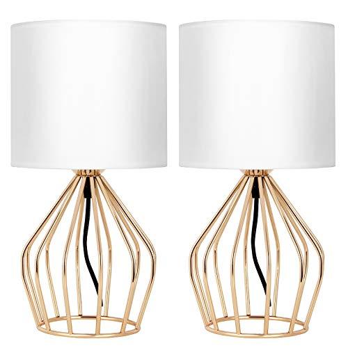 Juego de 2 lámparas de mesa modernas para mesita de noche, lámpara de mesa de jaula de metal, alambre dorado ahuecado con pantalla blanca para dormitorio, sala de estar, salón