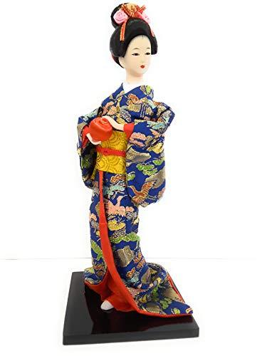 Poupée Japonaise Bleu et Multi-Couleurs (Hauteur 30 cm x 12 cm) - Figurine Geisha - Statuette Japonaise