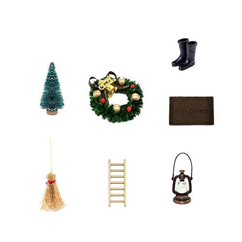 Super Idee Wichteltür Zubehör Set Mini Stiefel Laterne Weihnachtsbaum Dekokranz Holzleiter Besen Zuckerstange Teppichdecke Verzierungen für Miniatur Wichtel Tür Wichteltüren Nissedor Kinderzimmer