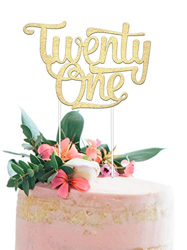 21st Birthday Cake Topper - Twenty One - 7' x 5' Double Sided Champagne Gold Glitter Cardstock - Perfect Touch for Your BDay Decorations - Food-Safe & Eco-Friendly Stand by Merry Expressions