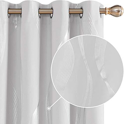 Deconovo Verdunkelung Vorhang Thermogardinen Fenstervorhang Ösenvorhang 245x140 cm Weiß Grau 2er Set
