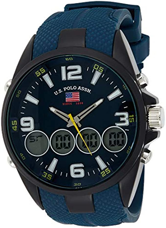 U.S. Polo Assn. Men's Quartz Metal and Rubber Casual Watch, Color Blue (Model: US9598)