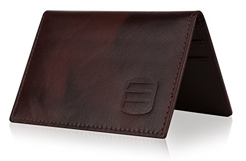 Suvelle Mens Thin RFID Blocking Slim Leather Card Holder Minimalist Front Pocket Wallet WR100