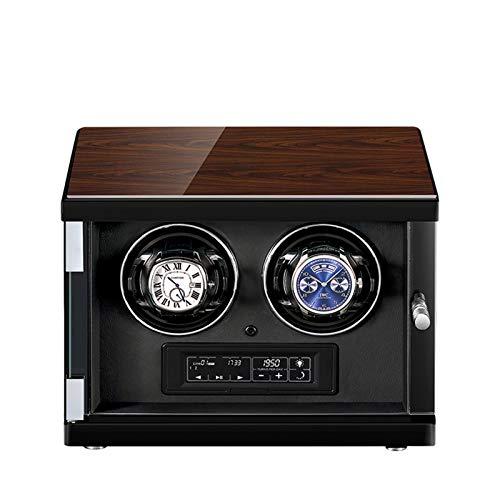 zyy Caja de Relojes Automaticos Estuche para 2 Relojes 5 Velocidades Iluminación LED Caja de Reloj de Cuero Control Remoto Motor Silencioso de Relojes Hombre Mujer Negro