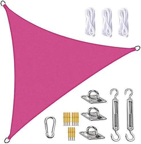 FFJD Vela De Sombra Sun Shade Sail Canopy Triangle UV Block Impermeable Sol Sombra Toldo con Kit De Fijación para Jardín, Patio, Piscina, área De Barbacoa, Rosa Roja(Size:3X3X3m/10X10X10ft)