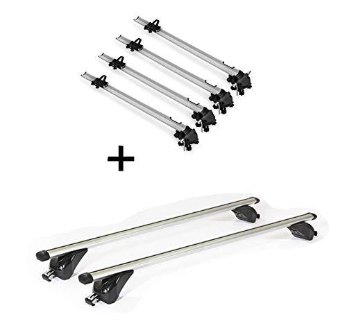 4 x portabicicletas Bike Pro + bacas VDPKING1 Compatible con Dacia Lodgy (5 Puertas) a Partir de 12