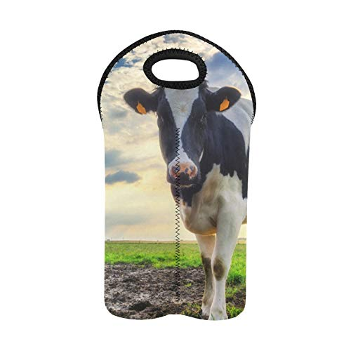 Reusable Wine Bags Black and White Dairy Cows Wine Tote Bag 2 Bottle Double Bottle Carrier Bottle Gift Bags Thick Neoprene Wine Bottle Holder Keeps Bottles Protected