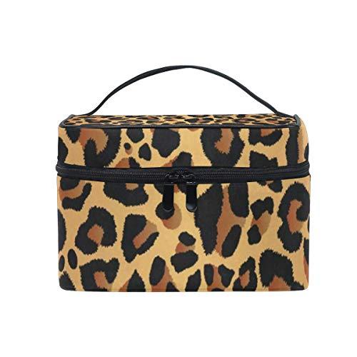 Make-up Tasche Aquarell Leopard Kosmetiktasche tragbare große Kulturbeutel für Frauen/Mädchen Reisen