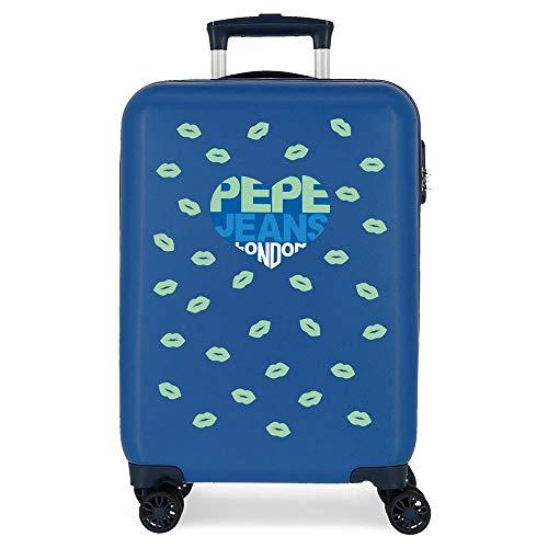 Pepe Jeans Ruth Maleta de Cabina Azul 38x55x20 cms Rígida ABS Cierre combinación 34L 2,6Kgs 4 Ruedas Dobles Equipaje de Mano