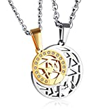 SNOWLIN 316 Stainless Steel Couple Necklace Moon and Sun Pedant Necklace Set for Couples (Gold)