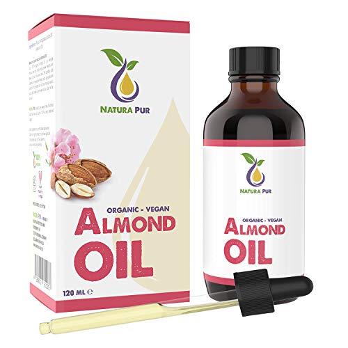 NATURA PUR Bio Mandelöl Süß 120ml - 100% nativ, kaltgepresst, vegan - Anti-Aging Serum für Gesicht, Anti-Falten, Körper, Haare, Haut, Hände, Nägel - naturreines Basisöl