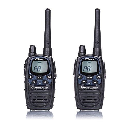 Midland G7 Pro PMR+LPD-Funkgerät C1090.13 Robustes Gerät für die Professionelle oder Private Nutzung, mit LCD-Bildschirm, inklusive Doppelstandlader & Gürtelclips, 2 Stück im Set
