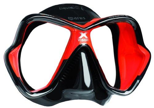 Mares X-Vision LiquidSkin - Máscara de buceo, schwarz/rot/schwarz