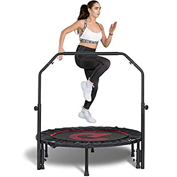 pelpo 40  Folding Mini Trampoline Fitness Rebounder with Adjustable Foam Handle Exercise Bounce for Adults Indoor/Outdoor Workout Max Load 330lb Black