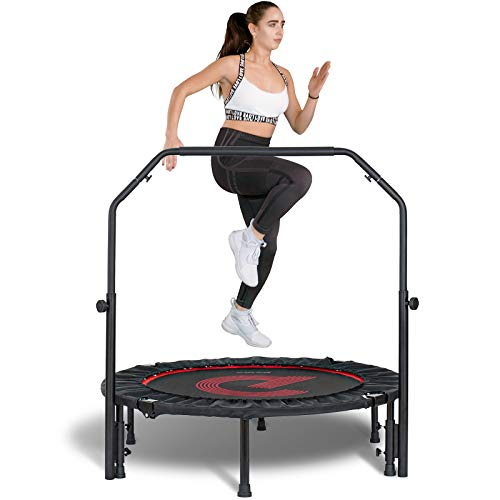 pelpo 40' Folding Mini Trampoline, Fitness Rebounder with Adjustable Foam Handle, Exercise Bounce for Adults Indoor/Outdoor Workout Max Load 330lb, Black