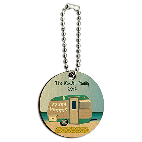 Graphics and More Personalized Custom Happy Camper Trailer Beach Camping Family Wood Wooden Round Key Chain