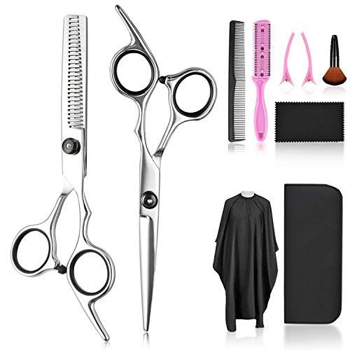 Hair Cutting Scissors Thinning Shears Set, Fcysy Professional 10 Pcs Sharp...