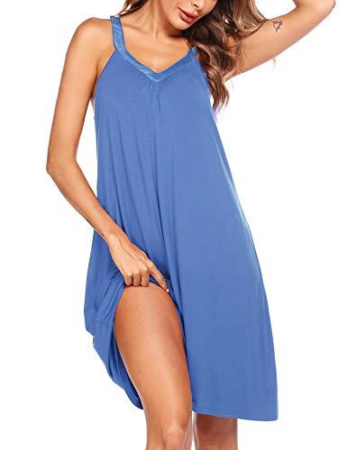 Ekouaer Nightgown Womens Sleeveless Sleepwear V Neck Racerback Sleep Dress S-XXL Blue
