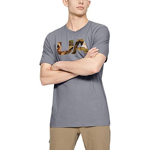 Under Armour Camiseta de Manga Corta con Relleno de Camuflaje para Hombre, Hombre, Manga Corta, 1341800, Acero (037)/Verde Trail, M