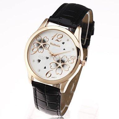 Fashion Watches Schöne Uhren, womage 2015 Klassische Blumenmuster Gold Markenleder-Frauendamen beiläufige Hand Kleid zu sehen (Farbe : Schwarz, Geschlecht : Für Damen)