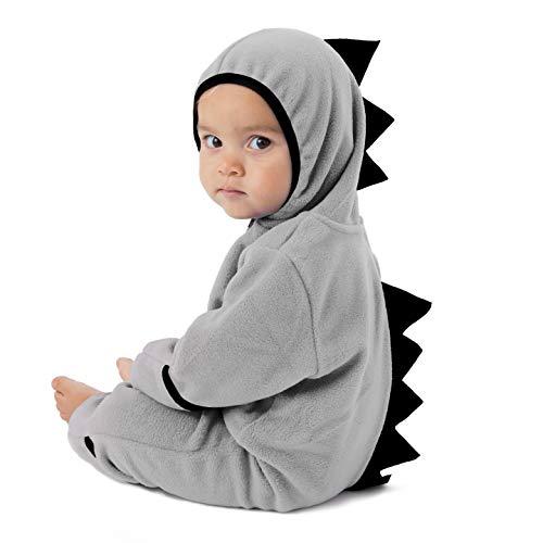 Cuddle Club Mono Polar Bebé para Recién Nacidos a Niños 4 Años - Pijamas Infantiles Chaqueta de Invierno Abrigo Polar Niño Mono de Niños - DinoGrey/Black0-3m