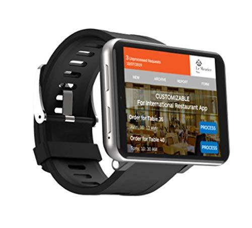 "Greetuny 4G Smart Watch GPS Sportuhr mit 5MP HD Kamera + 2700mAh großer Batterie + 2,8\""LCD Display Smartwatch WiFi Frequenz Schrittzähler Uhrentelefon mit SIM Slot (1+16GB, Silber-Grau)"